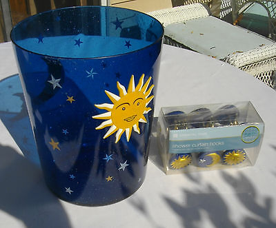 Essential Home Sun and Moon Waste Can and Shower Hooks New with Tags