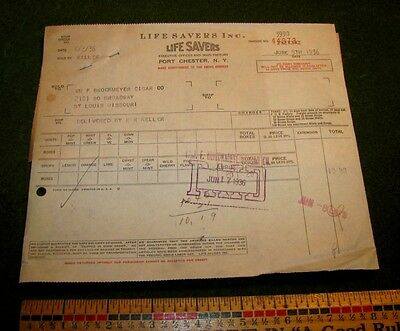1936 Life Savers Candy Co Advertising Bill Head Invoice