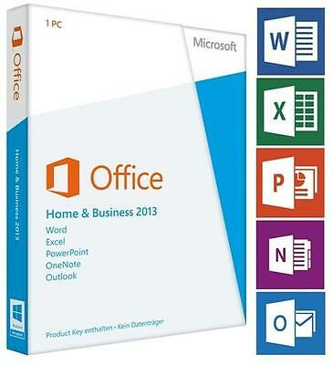 Genuine Microsoft Office Home and Business 2013 License 1 PC Media & Card-less