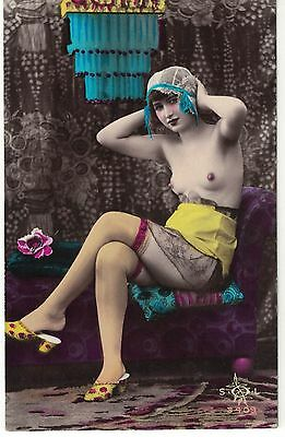 Original Erotic French Glamour Postcard, Lingerie Real Photograph And Colouring