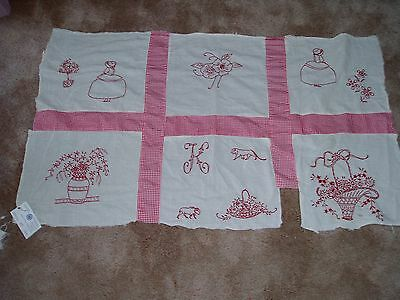 """Lovely Vtg """"SUN DRY""""Penny Squares Material w/Handone Embroidery Girl,Flowers,etc"""