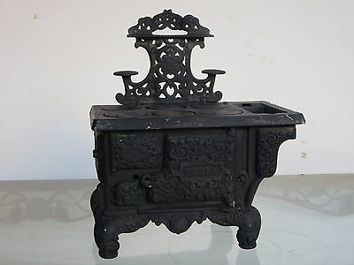 Vintage - Miniature Antique Cast Iron Eagle Stove - Lancaster Brand - 10.5' wide