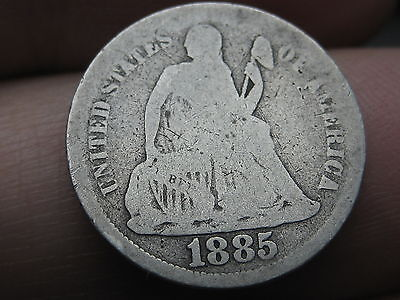 1885 P Seated Liberty Silver Dime- Good/VG Details