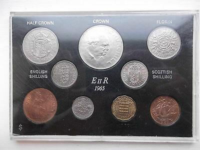 Coinage Of Great Britain Elizabeth II 1965 Year Set 9 Coins