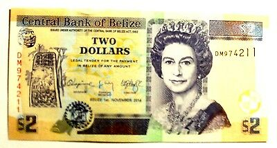 Banknote Belize 2 Dollars 01.11.2014 A/unc Cond.