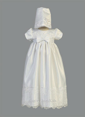 New Baby Girls White Satin Long Dress Gown Christening Baptism Dedication Cathy