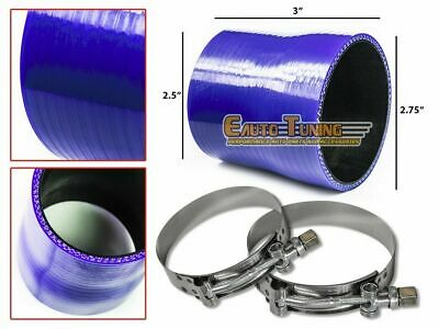 "2.75"" To 2.5"" Silicone Pipe Hose Coupler BLUE +T-Bolt Clamp For Jeep/Land Rover"