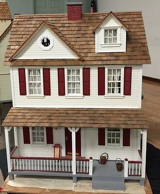 VINTAGE Victorian WOOD DOLLHOUSE Fully Furnished Electric Red Trim EUC! Pretty!