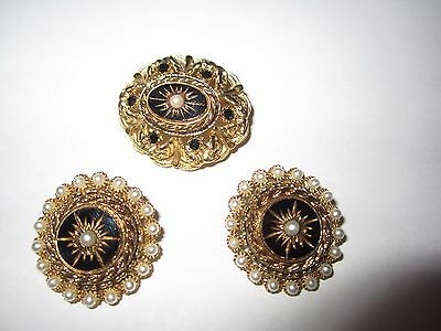 VICTORIAN Brooch Black Onyx Gold Starburst Pearl Seeds Pin Earring Set SIGNED