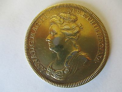 Queen Anne 1702 medal ENTIRELY ENGLISH 34mm silver gold plated.