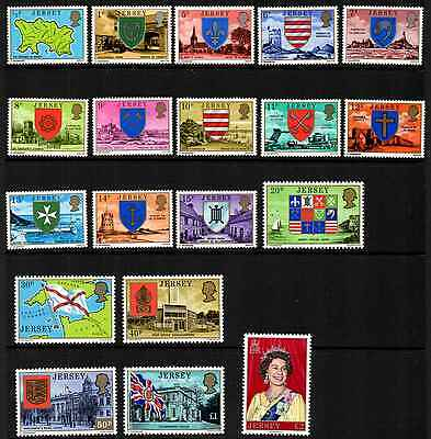 Jersey 1976-80 Set Of 19 Parish Arms & Views (Mint Lightly Hinged) #a0194