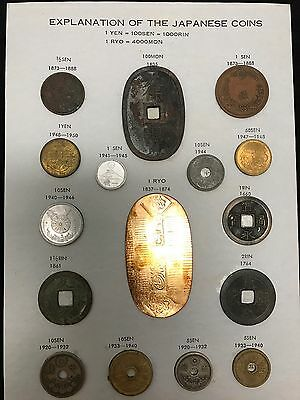 Rare Collection Japaneese coins dating from 1660 to 1950, Includes 1 Gold RYO