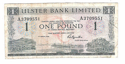Banknote of ireland one pound ulster bank dated 1976.