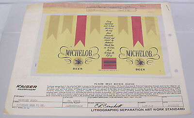1978 Michelob Beer 12oz Can Lithographic Separation & Composite Artwork Standard