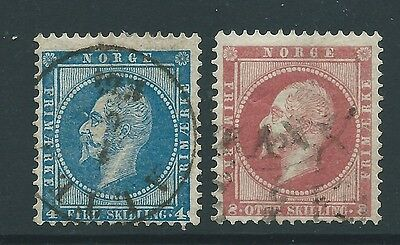 Norway 1856 Two Nice Used Stamps