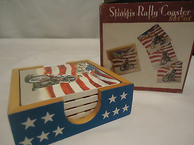 Set of 4 Strugis Rally Coaster with Motorcycles