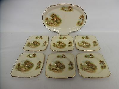Vintage Alfred Meakin Sandwich Set - Country Thatched Cottage - Nostalgic