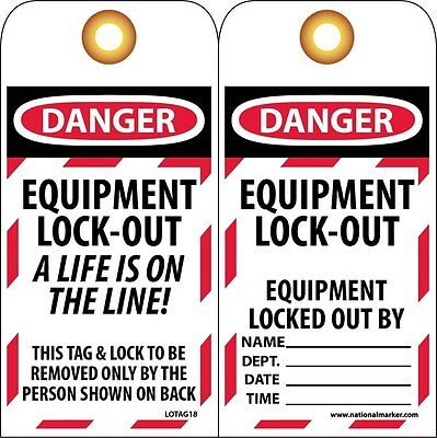 "NMC LOTAG18 Lockout Tag, ""DANGER - EQUIPMENT LOCK-OUT"" 6"" Height x 3"" Width, on"