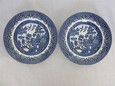 Churchill Old English blue willow pattern - two side plates (Lot 2)