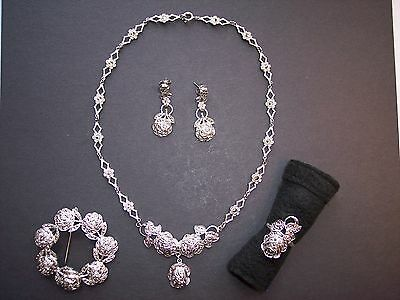 Theda Sterling Marcasite Rose Tulip Jewelry Set