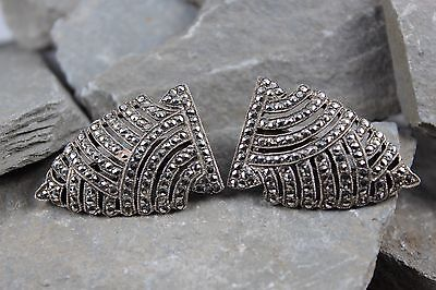 Stunning Vintage 1950's Silver Marcasite Collar Dress Clips