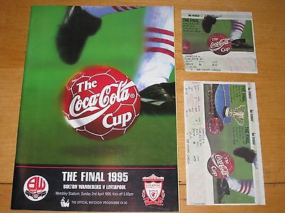 COCA COLA CUP FINAL 1995 BOLTON v LIVERPOOL with two used tickets