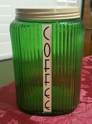 Vintage Owens Illinois Forest Green Hooiser Large Coffee Canister