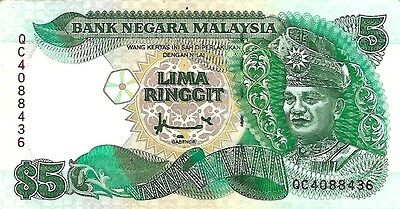 MALAYSIA 5 Ringgit Banknote World Money AUNC Currency BILL 1991 p-28