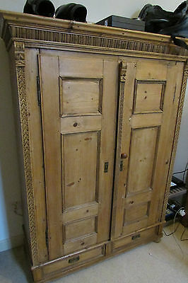 Superb Beautiful Antique Old Pine French Carved Wardrobe  1 of 2 being sold