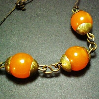 Vintage Ethnic Butterscoth Amber Bakelite & Bronze Necklace Tested