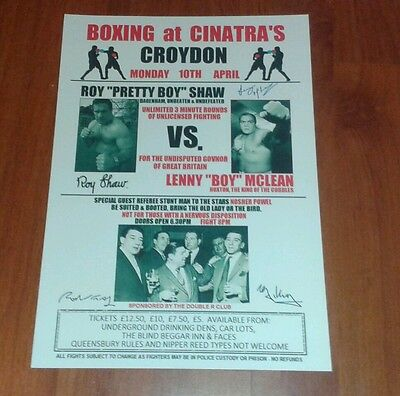 Lenny Mclean Vs Roy Shaw Boxing Poster. Signed. Krays. Unlicensed Boxing. Guvnor