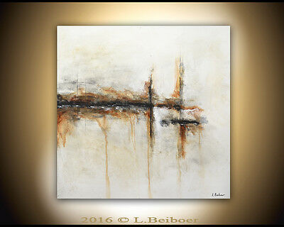 LARGE ORIGINAL MODERN ABSTRACT 30x30 CANVAS FINE ART WHITE PAINTING  ~L. Beiboer