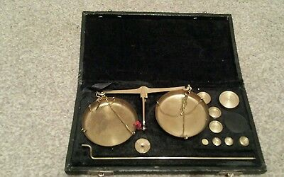 vintage brass weighing scales boxed with weights