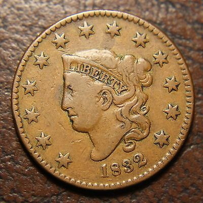 1832 Coronet Head Large Cent, N-3, Large Letters