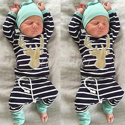 3PCS Newborn Kids Baby Boy Girl Outfit Clothes Tops+Long Pants Trousers+Hat 0-3M