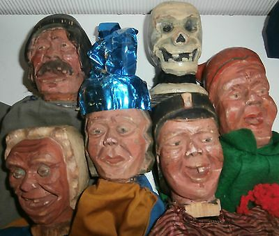 unique c 1900 / 6  CHARACTER  Punch  &  Judy   WOOD WOODEN  CARVED HEAD  puppets