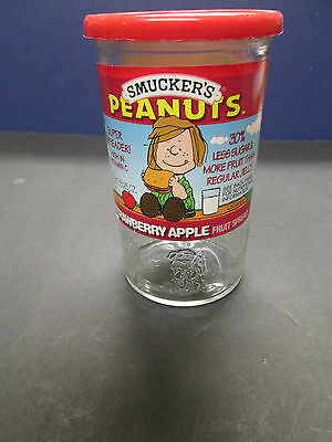 "Peanuts Embossed Linus Smucker's 4.75"" Jelly Glass Jar With Lid. 1 Owner. Label"