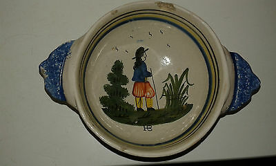 Two pieces of French pottery ( Quimper) 1 old the other contemporary