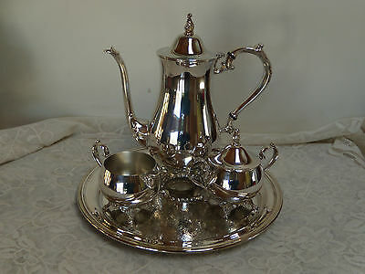 oneida silverplate tea-coffee set vintage pot, creamer, sugar with lid and tray