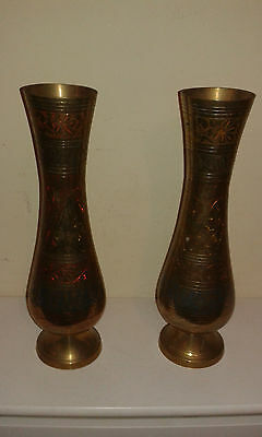Matched pair of North African brass vases