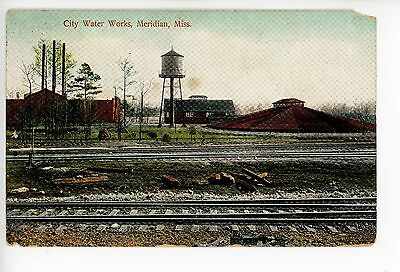 City Water Works—Meridian MS Antique Railroad Train Tracks PC ca. 1915