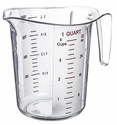 Update International MEA-100PC 1 Quart Plastic Measuring Cup, Silver/Black