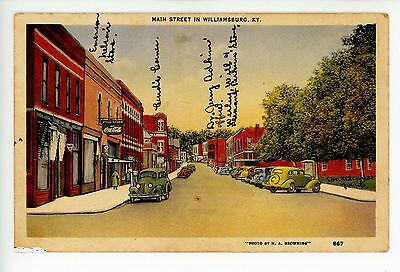Main Street WILLIAMSBURG KENTUCKY Vintage COCA COLA Linen Cars ANNOTATED 1940