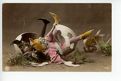 Kids Hatching out of Egg RPPC Antique FANTASY PHOTO Hand-Colored Strange French