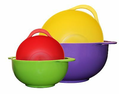 Gourmet Home Products 4 Piece Polypropylene Serving Bowl Set, Multicolor