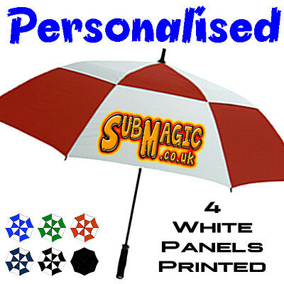 BRAND NEW FOR 2017 - Personalised  Vented Storm / Wind Proof Golf Umbrella + Bag