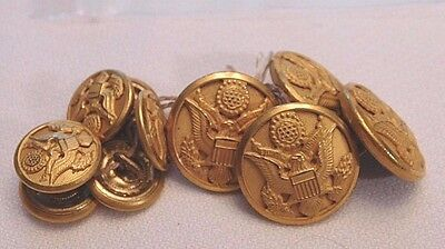Ww2 Army Service Coat Button Set - Excellent - Waterbury - Complete (B3)