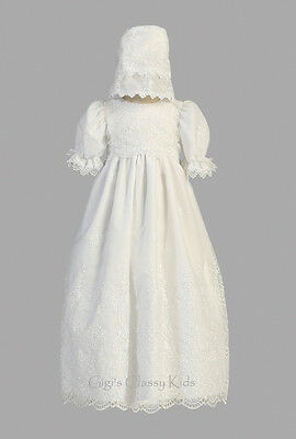 Baby Girls White Embroidered Organza Dress Gown Christening Baptism Bonnet Emily