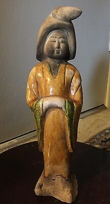 Antique Chinese Glazed Pottery Of A Chinese Woman