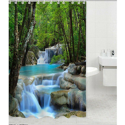 Waterfalls Nature Scenery Shower Curtain Bathroom Waterproof Fabric 72 Inch Set
